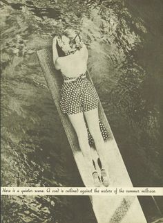 A coed lounges on a diving board above the Millrace in 1938. From the 1938 Oregana (University of Oregon yearbook).  www.CampusAttic.com