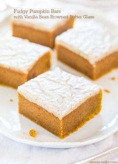 Fudgy Pumpkin Bars with Vanilla Bean Browned Butter Glaze