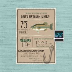 A personal favorite from my Etsy shop https://www.etsy.com/listing/508042815/man-fishing-birthday-invitation