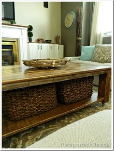 I've been wanting a rustic coffee table for ages. My vision came to life. With no more than 3 - 4 full days you have a Rustic Coffee Table for hundreds less tha… Coffee Table With Baskets, Rustic Coffee Tables, Diy Coffee Table, Coffee Table With Storage, Wood Tables, Rustic Table, Diy Table, Rustic Wood, Rustic Decor