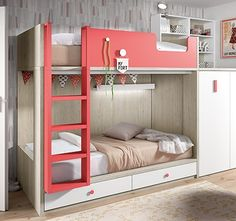 cama litera con armario combinado en blanco y rojo