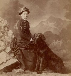 Newfoundland or Mountain Dog with Woman~Antique Cabinet Photo~Painted Backdrop