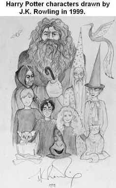 Harry Potter characters drawn by J. Rowling in 1999 With three Harry Potter books published, J. Rowling took a moment to doodle a simple pencil sketch of the series' main characters as she herself envisioned them. Harry Potter World, Mundo Harry Potter, Images Harry Potter, Harry Potter Fandom, Harry Potter Characters, Harry Potter Memes, Harry Potter Sketch, Fictional Characters, Hery Potter