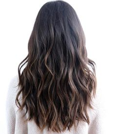 Wavy Black Hair With Brown Balayage Sombre Hair, Brown Hair Balayage, Hair Highlights, Black Hair With Brown Highlights, Black Balayage, Long Black Hair, Long Layered Hair, Long Hair Cuts, Dye My Hair
