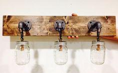 Industrial/Rustic/Modern Wood Handmade Mason Jar 3 Lights Fixture barn wood & mason jar light rustic shabby chic barnwood reclaimed vanity