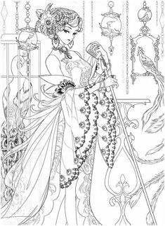 Adult Coloring Pages, Cute Coloring Pages, Printable Coloring Pages, Coloring Books, Art Prompts, Lowbrow Art, Fairy Art, Line Art, Art Reference