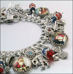 "Silver Charm Bracelet, Santa Claus Charm Bracelet, ""Twas the Night Before Christmas"""