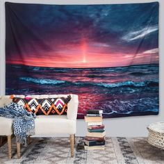Discover the best beach themed tapestries and coastal wall tapestries. We love beach wall decor and tapestries are affordable and beautiful, which makes them a great option. Hanging Flower Wall, Tapestry Wall Hanging, Beach Night, Beach Wall Decor, Beach Themes, Art Decor, Home Decor, Wall Prints, Accent Decor