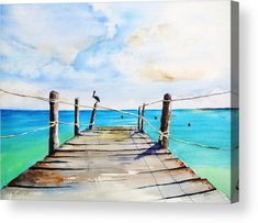 Art Prints on Paper, Canvas, Metal, Acrylic & Wood. Shop a variety of products for your Home Décor & Lifestyle. Unique Watercolor Paintings by artist Carlin Blahnik of CarlinArtWatercolor Top of Old Pier on Playa Paraiso, Playa del Carmen Mexico. Watercolor Landscape, Watercolor Paintings, Beach Watercolor, Watercolour, Guache, Beach Scenes, Beach Art, Ocean Beach, Pictures To Paint