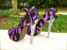 Zebra Pink & Black Glitter Heels...holy. cow. love.