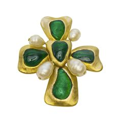 1994 Chanel Large Green Glass and Pearl Clover Pin | From a unique collection of vintage brooches at https://www.1stdibs.com/jewelry/brooches/brooches/