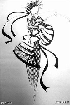Українка - Ольга De Nogga© - - Arts.In.UA Fashion Drawing Dresses, Fashion Illustration Dresses, Fashion Model Sketch, Fashion Sketches, Zentangle, Ukrainian Art, Ukrainian Tattoo, Deco Originale, Fashion Figures
