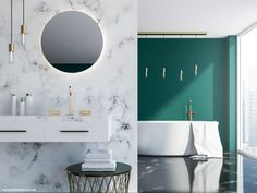 Stock photo - white marble and dark green loft bathroom with a sink, a round mirror and a tub near a loft window. a close up rendering