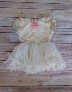 Beige Ivory Lace Toddler Girls Tutu Dress, Vintage Girls Dress, Flower Girl Dress, Holiday Easter, Birthday Dress,Rustic Beach Wedding on Etsy, $43.00