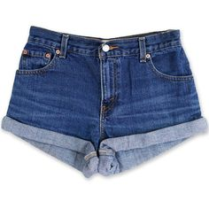 Vintage 90s Levi's Dark Blue Wash High Waisted Rise Cut Offs Cuffed... ($49) ❤ liked on Polyvore featuring shorts, bottoms, short, high rise jean shorts, levi shorts, high-waisted jean shorts, high rise denim shorts and high-waisted shorts