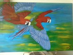 Two friends flying across the world Acryl 2013