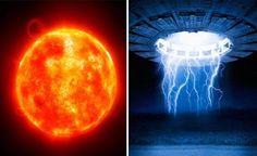 Enormes UFOS que roubam a energia do Sol? Foto de UFO Gigantesco Orbitando o Sol