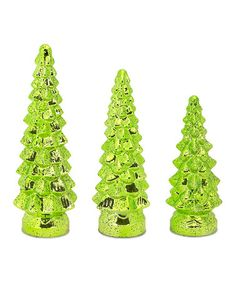 Love this Green Glass Trees Set on #zulily! #zulilyfinds
