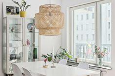 Ikea 'Sinnerlig' pendant lamp & 'Stockholm' display cabinet
