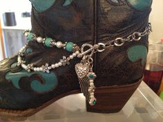 Silver and turquoise boot bracelet.