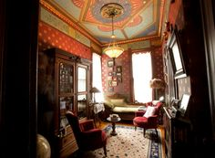 This would be an ideal study. Love the use of the Bradbury & Bradbury wallpapers!