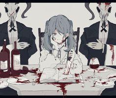 Eden in my dreams Dark Art Illustrations, Art Et Illustration, Arte Horror, Horror Art, Fanarts Anime, Anime Characters, Manga Art, Anime Art, Anime Negra
