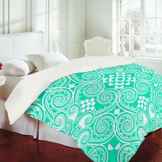so bright, great for a tan bedroom ?    Budi Kwan Decographic Mint Duvet Cover
