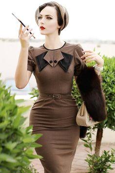 03727d2c977 Idda Van Munster ♥ Stop Staring Bernice pencil dress in black and brown  houndstooth Robe Crayon