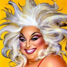Divine by Richard Bernstein for Interview Magazine, Airbrush, pencil and pastel on photographic portrait Best Drag Queens, Concert Wear, Divine Goddess, Adore Delano, John Waters, Gay, Magazine Art, Airbrush, Movie Stars