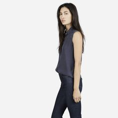 Everlane Silk Sleeveless Shirt -- Size M.  Preferred colors: Black, White, Slate, or Navy