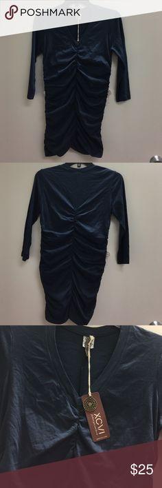 XCVI Navy Blue Top -V-Neck- 3/4 Sleeve XCVI Navy Blue Top -V-Neck- 3/4 Sleeve-Ruched Front and Back as Pictured -100% Cotton -NWT XCVI Tops Tees - Long Sleeve