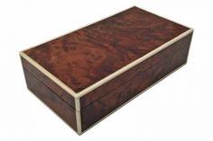 Burl wood box trimmed in bone.  England, circa 1930