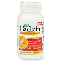 Nature's Way Garlicin HC 90 Enteric-coated Tablets by Nature's Way. $8.63. Garlicin HC supports healthy cholesterol levels and helps maintaining circulatory efficiency. Hawthorn improves blood and nutrient flow to the heart muscle. And, Vitamin E has been shown to help prevent the oxidation of cholesterol.Three factors make Garlicin the highest allicin yield garlic product. First, the garlic powder used in each tablet is extremely potent in alliinase (which the body co...