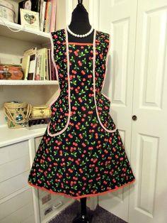 Cherries retro 1950 womans handmade apron by mimisneedle on Etsy, $68.00