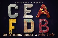 3D Lettering MegaBundle 3 - Graphics Unique 3D typography bundle with 6 new lettering sets. All are great for any print or web projects, so maybe it's time to add something creative and unique to your typography toolbox