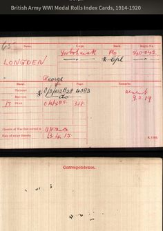 The British Army record of George Longden's medal
