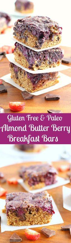 Gluten Free and Paleo Almond Butter Berry Breakfast Bars - paleorunningmomma...