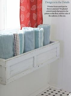 Use an old drawer/flower box/cabinet doors to used to store towels in bathroom | fabuloushomeblog.comfabuloushomeblog.com