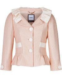 Moschino Textured Jacket with Ruffled Collar - Lyst