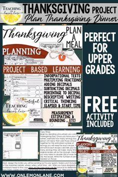 Plan Thanksgiving Dinner Math Project for Upper Grades November Classroom Activity Middle School FUN