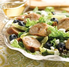 Sweet Apple Chicken Sausage, Endive, and Blueberry Salad with Toasted Pecans