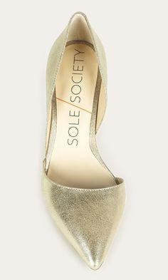 Metallic mid heel d'Orsay pump. An ultra-walkable heel for date night and parties.