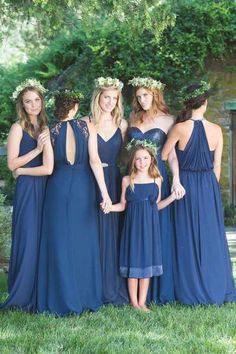 Mismatched Navy Blue Chiffon A-line Country Wedding Bridesmaid Dresses. Country Bridesmaid Dresses, Navy Blue Bridesmaids, Burgundy Bridesmaid Dresses, Wedding Bridesmaids, Wedding Dresses, Bridesmaid Colours, Bridesmaid Jewelry, Wedding Attire, Bridesmaid Pictures