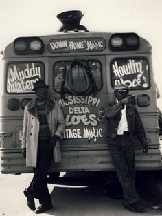 Howlin' Wolf & Muddy Waters on the Mississippi Delta Blues Down Home Music Bus. Vintage Americana!