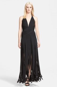 Herve Leger Women's Fringed Skirt Halter Gown   Dress, Frock and Clothing