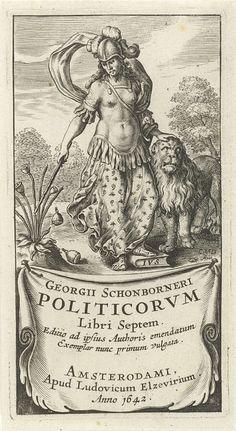 Cornelis van Dalen (I) | Kracht als vrouwelijke soldaat in wapenrusting met leeuw, Cornelis van Dalen (I), Lowijs Elzevier (III), 1642 | Vrouwelijk personificatie van Kracht of Moed, één van de kardinale deugden, gekleed als soldaat in wapenrusting. Haar hand rust op de kop van een leeuw en met een stok slaat zij zaadbollen van een papaverplant. Op een doek of cartouche staat de titel.