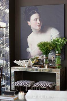Verandah House - console, painting, stools
