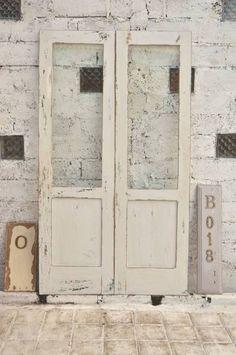 Door B018 110cm×193cmアンティーク建具ダブルドア白 インテリア 雑貨 家具 Antique ¥35000yen 〆06月24日