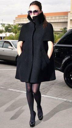 damen poncho schwarz jacke elegant resized