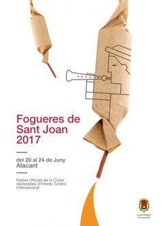 "Cartel Hogueras de Sanz Juan Alicante 2017 Titulo: ""Pólvora, música i foc"" Autor: David Hernández Chamorro."